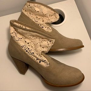 Lace detail beige booties